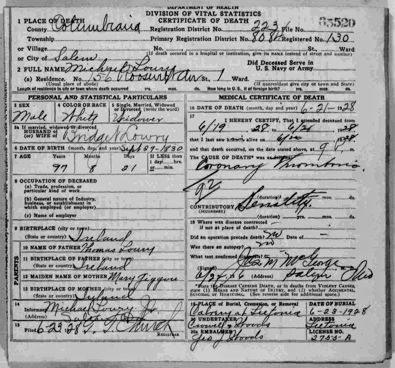Death certificate lowry genealogy update 14 apr 2014 this is the death certificate of my third great grandfather michael lowry ive featured him quite a bit on the blog so do a quick xflitez Gallery