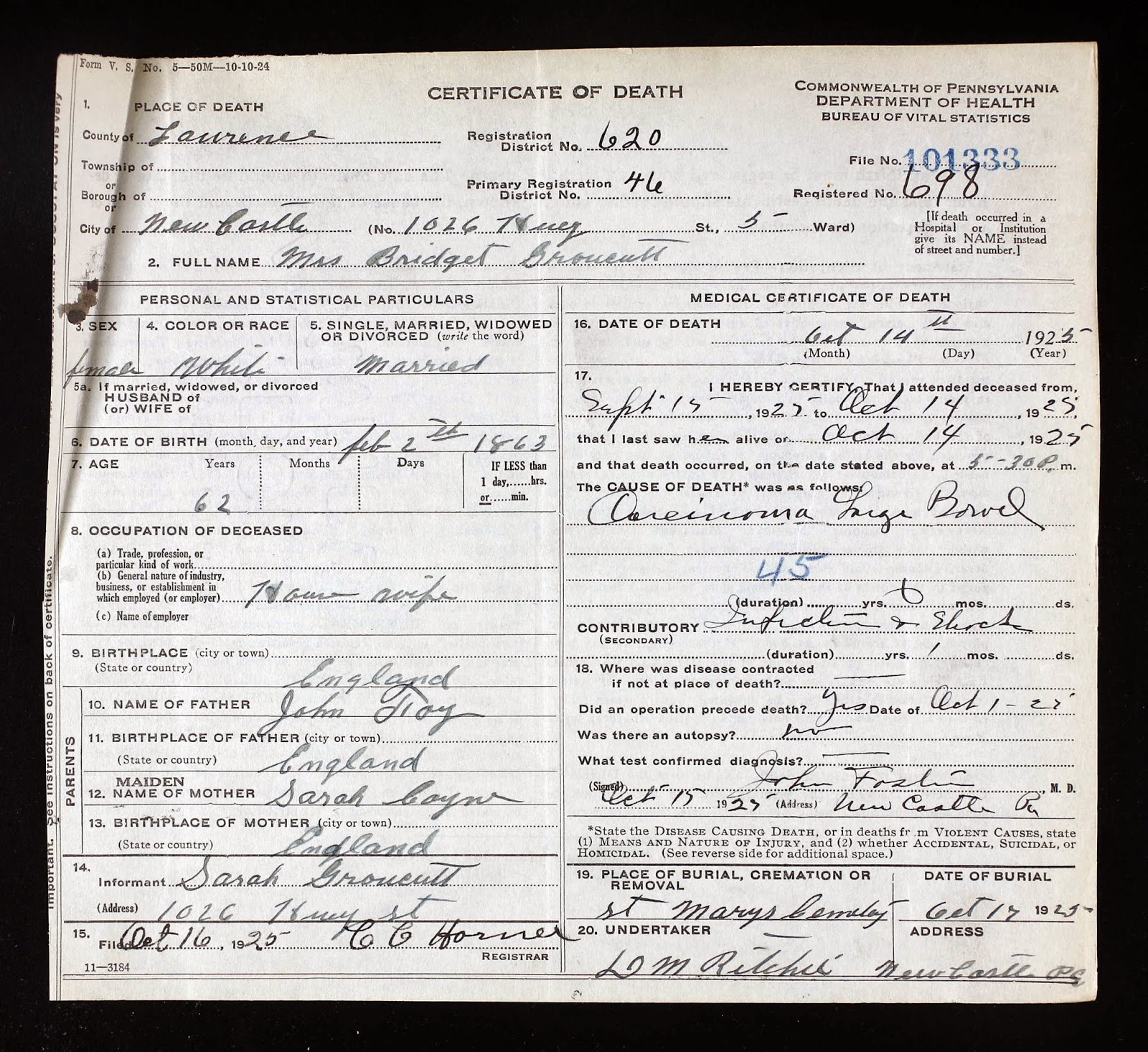 Death Certificate Lowry Genealogy