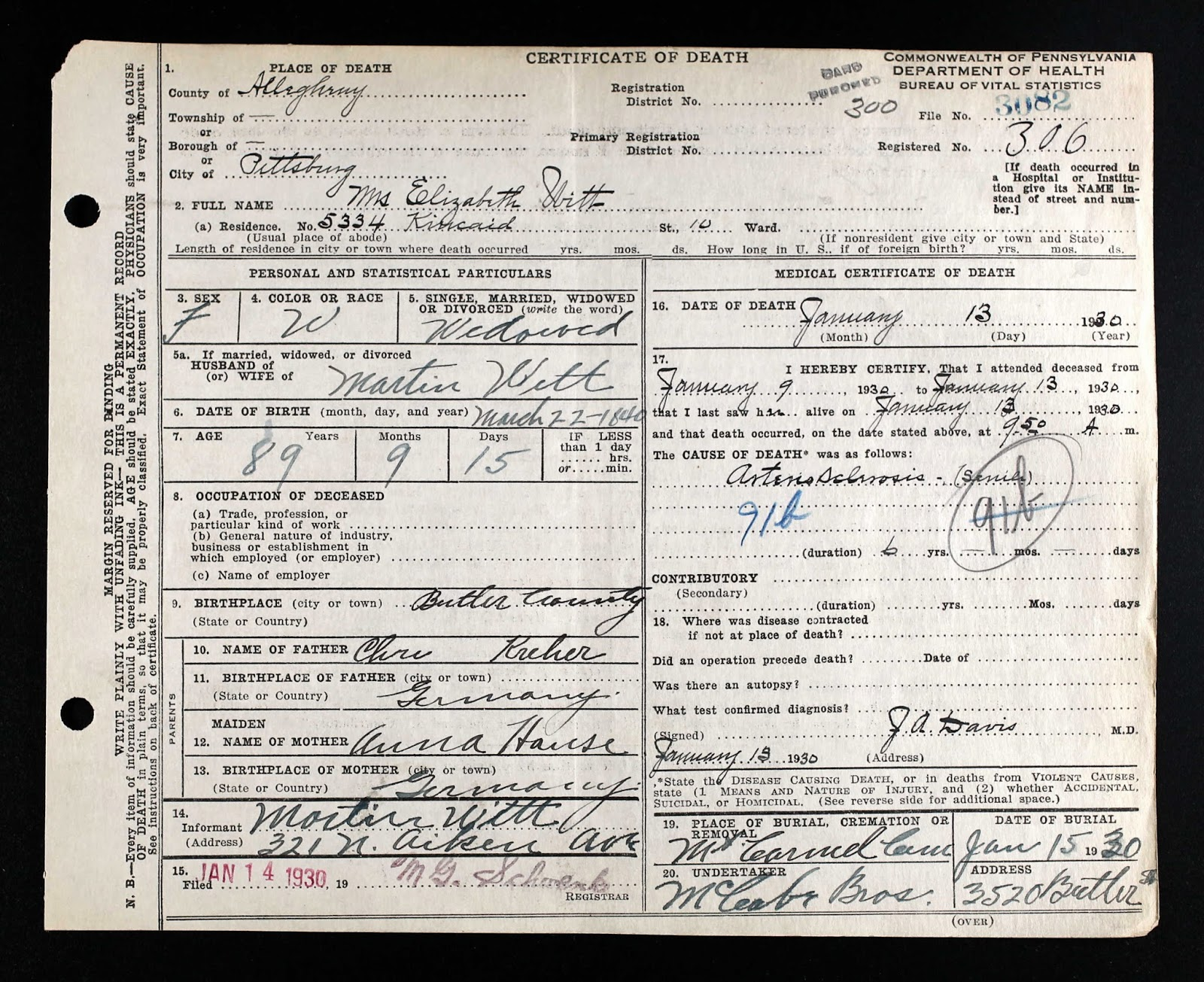 Death certificate lowry genealogy death certificate of elisabeth louise kreher witt aiddatafo Image collections